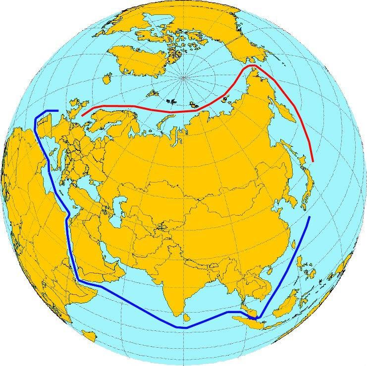 Północna droga morska i szklak przez Kanał Sueski